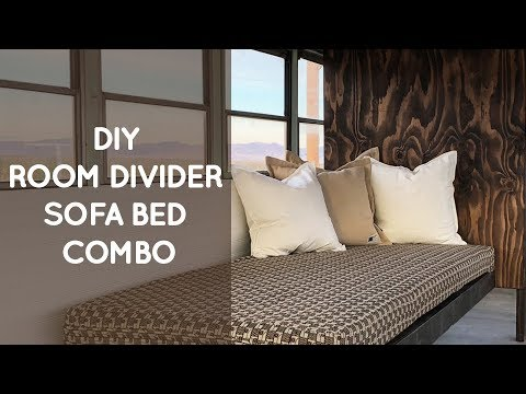 DIY room divider sofa bed combo for a school bus conversion