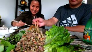 Khmer Student's Noodle | Khmer Beef Larb Home Cooking