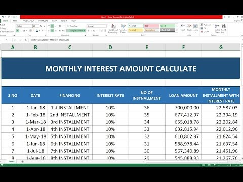 #132 How To Make Monthly Interest amount Calculate Sheet Excel in Hindi