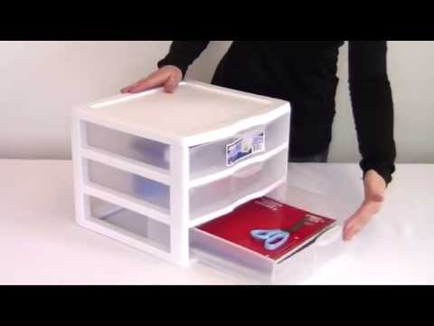 Sterilite Clearview 3 Drawer White Storage Unit