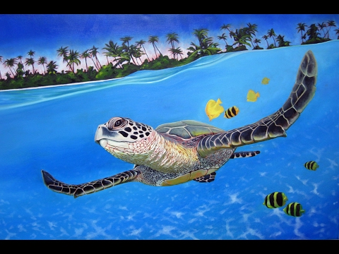 Art Lesson: How to Paint a Marine Turtle with Water Mixable Oil Paints