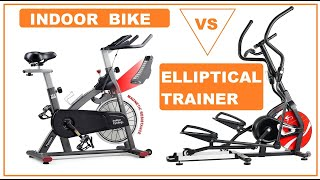 Home gym, indoor exercise spin bike or elliptical exercise trainer machine