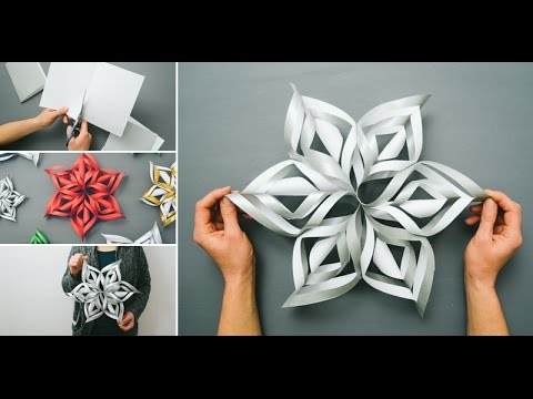 3D Snowflake DIY Tutorial - How to Make 3D Paper Snowflakes for homemade decorations 2016 xmas