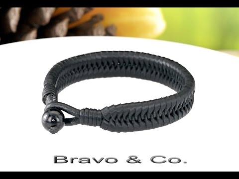 1B-637 HOW TO BUY  Kangaroo Leather Black Onyx Stone Wristband Men Bracelet