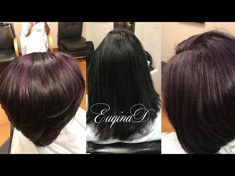 Purple highlights & haircut using Pulpriot Velvet & jam mix