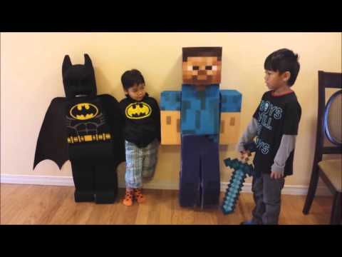 Lego Batman and Minecraft Steve Custom made Costumes by Dad