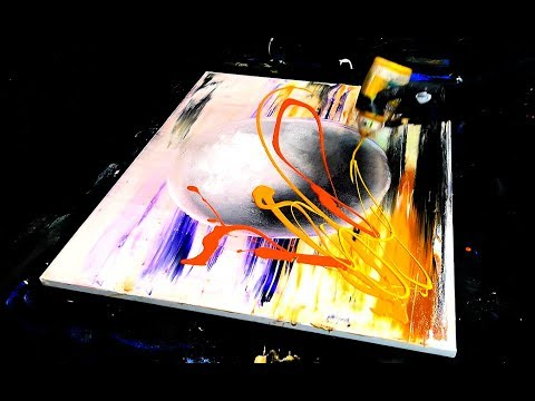 3D SPHERE ABSTRACT PAINTING SPONGE, SPATULA, WINDOW WASHER, ACRYLIC PAINT, AMAZING BACKGROUND
