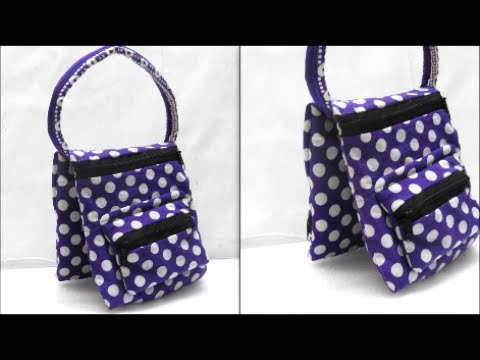 How to make fabric handmade bag with extra pouch - Tutorial at Home