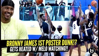 Bronny James Attempts 1st POSTER DUNK w/ Carmelo Anthony Watching!! Bronny Almost BAPTIZES Defender!