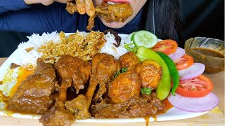 ASMR:EATING SPICY CHICKEN CURRY AND EGG MASALA WITH RICE