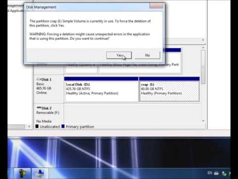 How to delete your partition in windows 7 and vista