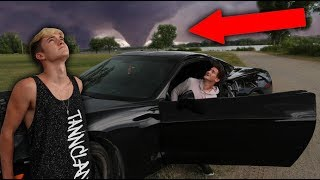 WE CHASED A THUNDERSTORM IN HIS CAR... (CLOSE CALL)
