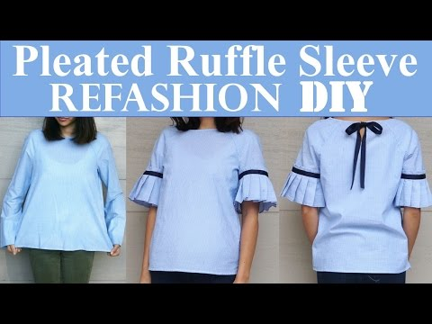 DIY | PLAIN TOP TO PLEATED RUFFLE SLEEVES(with a bow detail in the back) REFASHION
