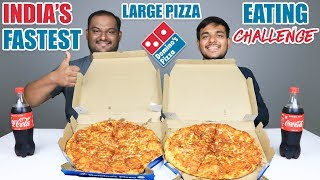 2 X LARGE DOMINO'S PIZZA EATING CHALLENGE | Domino's Large Pizza Eating Competition | Food Challenge