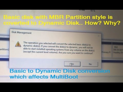 The operation you selected will convert the selected basic disk to dynamic disk (MBR Partition)