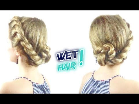 CUTE HAIRSTYLE FOR WET HAIR EASY ROPE BUN UPDO | Awesome Hairstyles ✔