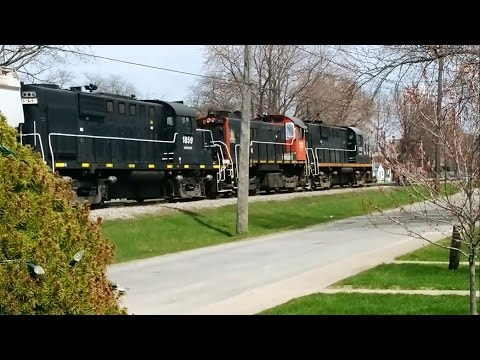 Trillium Railways Train 1842 pulling trains 110 and 1859 all connected