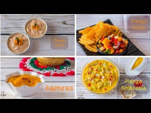 4 Easy No Cooking Mango Recipes-Mango Salsa-Mango Raita-Aamras-Mango Ambrosia-Kalimirchbysmita-Ep303