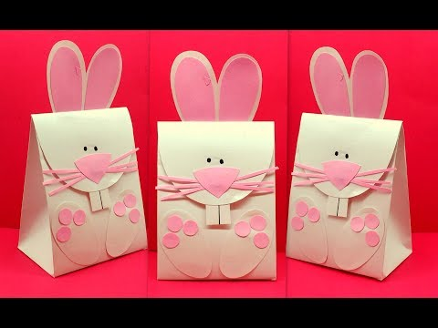 Diy How to make Easter Bunny Rabbit Gift Paper Bag