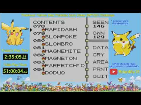 Pokémon Yellow: MPGD Challenge Completion