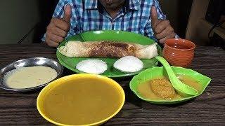 Eating Masala Dosa, Idli, Bada With Sambar & Coconut Chutney - Famous South Indian Food