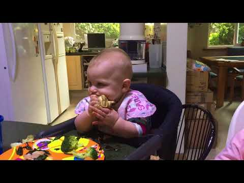 Seven month old eating quesadilla