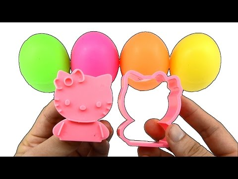 Surprise Eggs Learn Colors with Play Doh Hello Kitty Molds and Dinosaurs Toys Kids