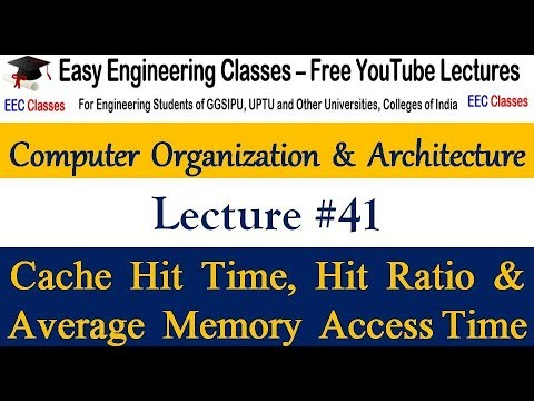 COA Lecture 41 - Cache Hit Time, Hit Ratio and Average Memory Access Time