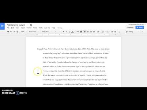 Annotated Bibliography - Hanging Indent Directions