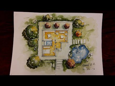 Ground Floor Plan Rendering by Watercolour