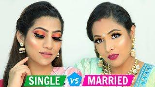 SINGLE vs MARRIED Makeup Challenge ..   Festive Makeup For Beginners   #ShrutiArjunAnand #Anaysa
