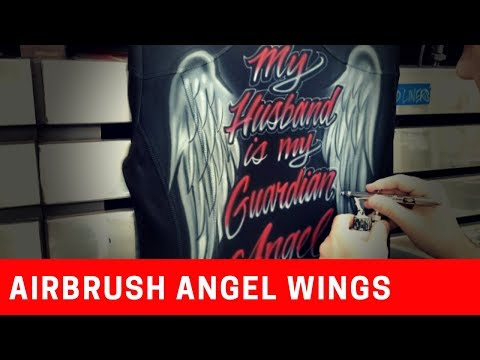 How to airbrush angel wings with text