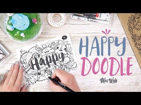 How I draw / Cute Doodle (Happy Kawaii Characters) - Miss Wah (Using Uni Pin)