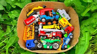 Finding hidden toy vehicles in the village farm house | Box filled toy vehicles