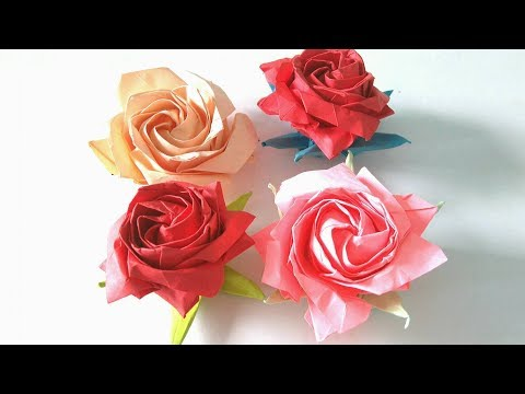 Origami Flower - How to make an origami pentagon rose step-by-step