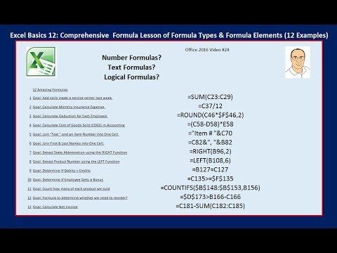 Excel Basics 12: Complete Formula Lesson of Formula Types & Formula Elements 12 Examples