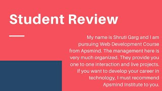 APSMind | Student Feedback Video 3 | Reviews on Apsmind Technology by a student