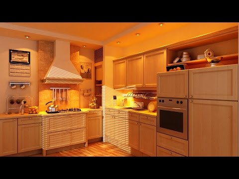 Kitchen furniture modeling (A) with v-ray 3.4 + 3ds max - interior 2 - PART 1
