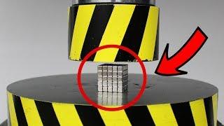 EXPERIMENT HYDRAULIC PRESS 100 TON vs Neodymium Magnet (100 Cube)