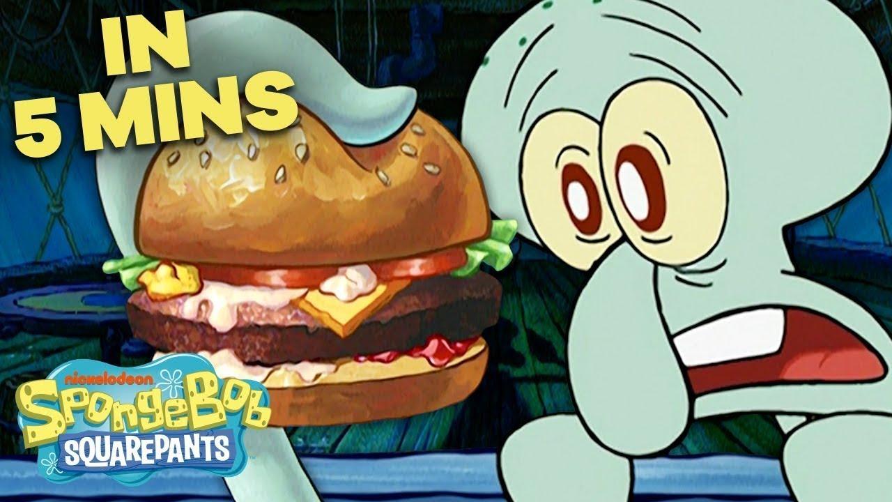 Squidward's First Krabby Patty 🍔 in 5 Minutes!   SpongeBob SquarePants