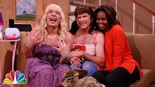 First Lady Michelle Obama teaches Sara and Stacy that being active and eating right isn