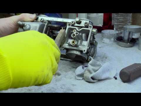 Scrubbing Carburetor Brass Wire Brush Cleaning Carbs en450 454 Kawasaki Tuning Poor Running Bike