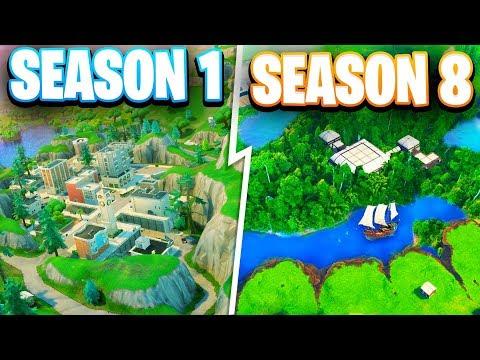 Fortnite map season 1 vs season 8