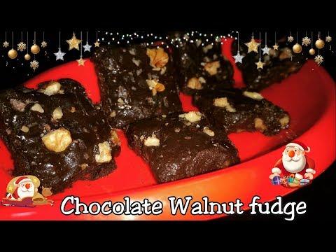 Easy Chocolate Fudge Recipe|Christmas Special Chocolate Walnut Fudge|NO Bake Instant Chocolate Fudge