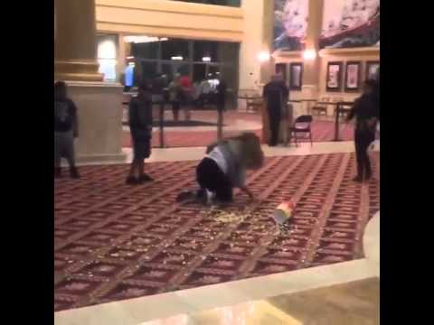 Girl Tripping Over in Cinema With Popcorn