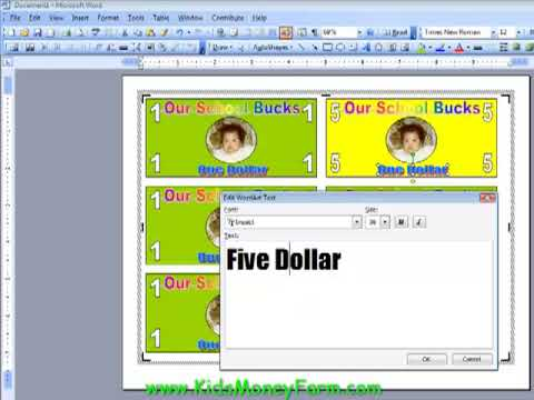 Create Kids Play Money Templates Using Word - PART 2