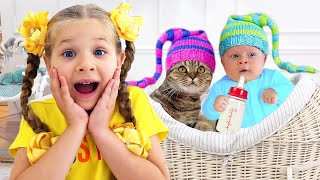 Diana and Oliver Funny Baby Adventures with cat