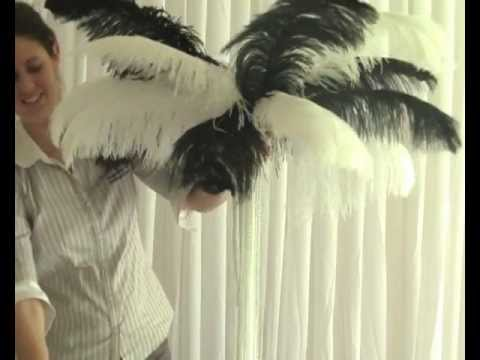 How to Create an Ostrich Feather-Top Wedding Reception or Party Table Decoration Centrepiece