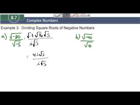 8.7 Example 3 Dividing Square Roots of Negative Numbers