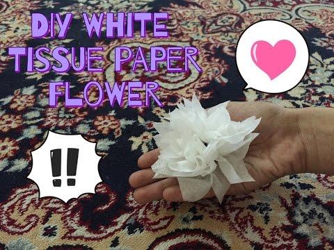 diy white tissue paper flower easy
